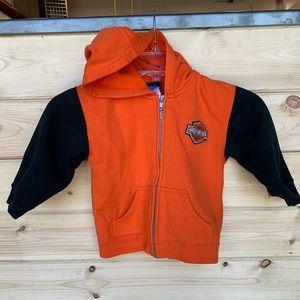 Harley Davidson orange and black hoodie sweatshirt